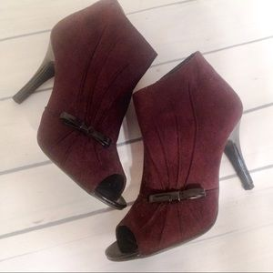 New Directions Brown Faux Suede Peep Toe Heels